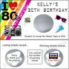 I LOVE THE 80'S RETRO Birthday Party Scratch Off Tickets Supplies FUN GAME!