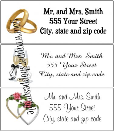 30 Personalized WEDDING Return Address Labels BEACH DESTINATION Party Supplies