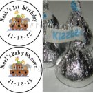 108 NOAH'S ARK Candy Kiss Labels Birthday Party Favors Supplies Baby Shower