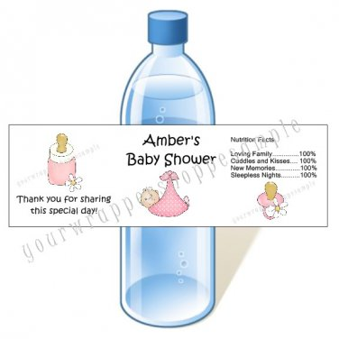 Personalized BABY SHOWER Water Bottle Labels WATERPROOF Boy Girl Twins Triplets