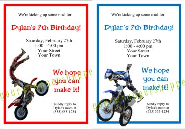 Personalized DIRT BIKE MOTORCYCLE Birthday Party Invitations FMX