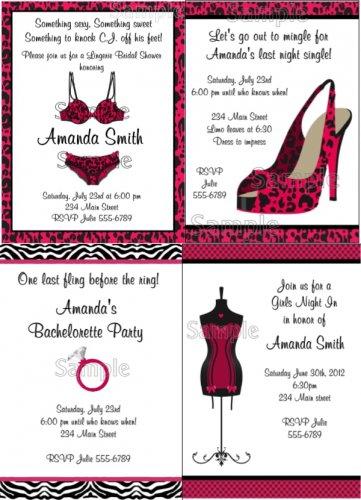 5x7 Personalized BACHELORETTE BRIDAL SHOWER LINGERIE ZEBRA Invitations Supplies
