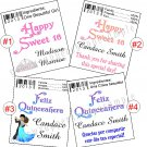 Personalized SWEET SIXTEEN 16 QUINCEANERA Chap Stick Lip Balm Labels Party