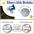 BMX BIKES Birthday Party Lottery Style Scratch off Tickets Game Supplies Favors