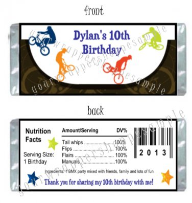 Personalized BMX BIKES Birthday Party Large Candy Wrappers Favors Supplies