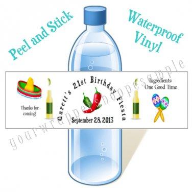 Personalized MEXICAN FIESTA Water Bottle Labels WATERPROOF 21st Birthday Favors