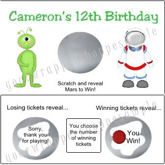 Personalized UFO SPACE ALIEN Birthday Party Scratch Off Tickets Supplies GAME