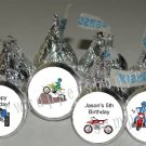 Personalized DIRT BIKE QUAD Kiss Labels Candy Wrappers Birthday Party Favors
