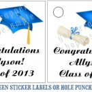 Personalized GRADUATION Favor Bag TAGS or Sticker LABELS Unique Party Supplies
