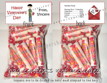 Personalized VALENTINE'S DAY CLASSROOM SCHOOL Party Favors Goodie Bags & Toppers