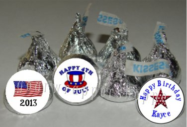 108 4TH OF JULY Candy Kiss Labels Birthday Party Favors Supplies PATRIOTIC