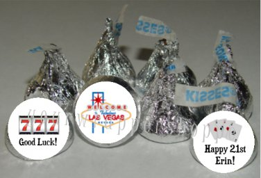 Personalized CASINO POKER NIGHT Kiss Labels Candy Wrappers Favors Supplies VEGAS