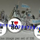 Personalized RETRO 80'S Kiss Labels Candy Wrappers Birthday Party Favors