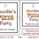 Personalized PIZZA PARTY Favor Bag Gift TAGS Unique Party Supplies