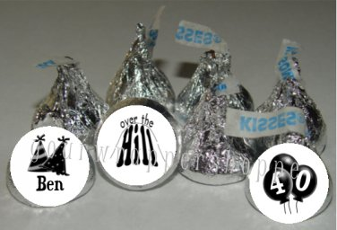 Personalilzed OVER THE HILL Kiss Labels Candy Wrappers Party Supplies 40th 50th