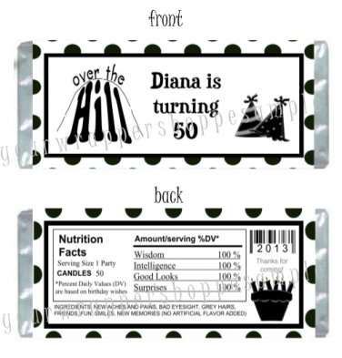 Personalized OVER THE HILL Birthday Party Candy Wrappers Favors 40th 50th 60th
