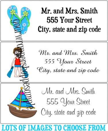 30 Personalized BEACH SUMMER Return Address Labels Baby Shower Birthday Supplies