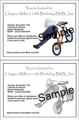 Personalized FREESTYLE BMX Birthday Party Invitations BIKES