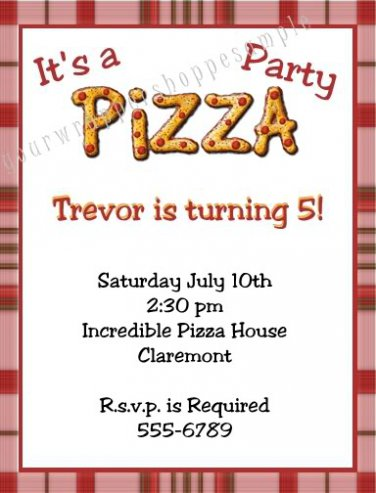 Personalized PIZZA PARTY Birthday Invitations Supplies
