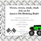 Personalized MONSTER TRUCK JAM Birthday Party Invitations