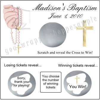 BAPTISM CHRISTENING Party Favors Scratch Off Tickets Game Supplies RELIGIOUS