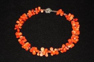 Orange Coral Teardrop Necklace - DMD0042