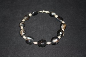 Onyx with Hill Tribe Silver Shell Beads Necklace - DMD0065