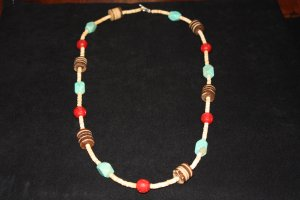 Cinnabar Beads, Turquoise and Shell Bead Necklace - DMD0069