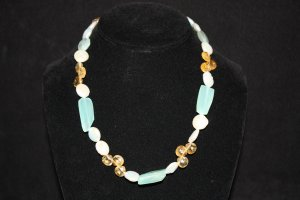 Citrine Teardrops and Coin Pearl Necklace - DMD0373