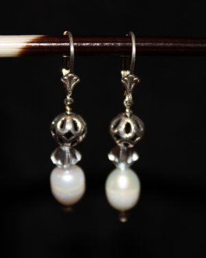 Pearl, Crystal and Sterling Stack Earrings - DMD0262