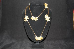 Citrine Chunks with White and Chocolate Pearl Necklace - DMD0285