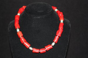 Red Coral with Turquoise Necklace - DMD0313
