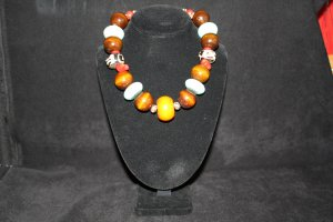 Turquoise, Wood, Red Coral and African beaded Necklace - DMD0334