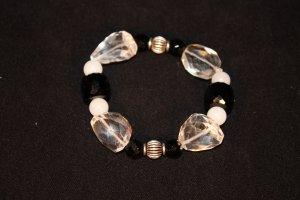 Onyx, Glass, White Jade and Crystal Bracelet - DMD1922
