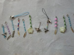 cell phone charm's/keyring's.(these have extra charm's on the bottom)