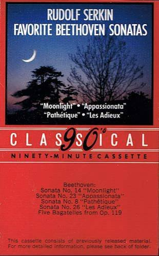 RUDOLF SERKIN - Favorite Beethoven Sonatas (1984) - Cassette Tape