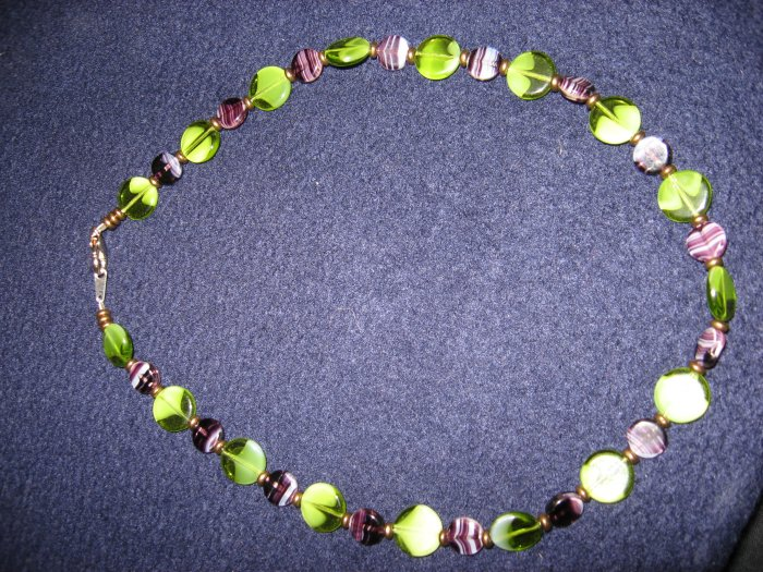 Purple and Green round glass bead necklace with brass spacers