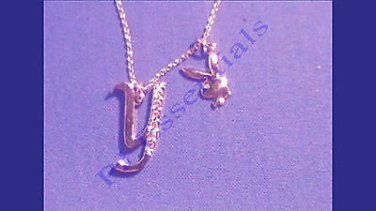 Playboy Platinum Plated Bunny Initial Pendant - Letter Y - RRP £25