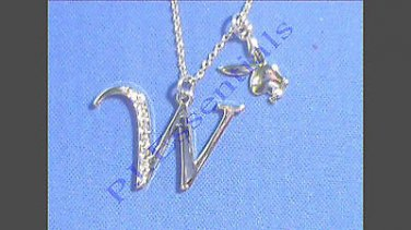Playboy Platinum Plated Bunny Initial Pendant - Letter W - RRP £25