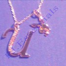 Playboy Platinum Plated Bunny Initial Pendant - Letter U - RRP £25