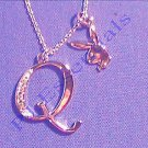 Playboy Platinum Plated Bunny Initial Pendant - Letter Q - RRP £25