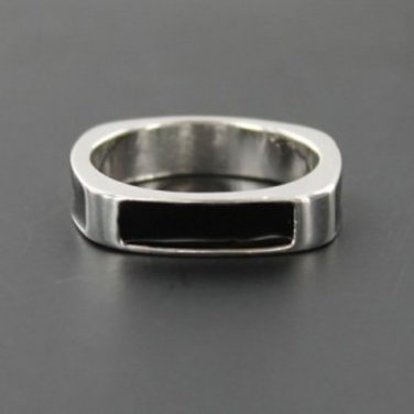 Unisex Silver and Black Square Ring - Size UK T (USA 10)