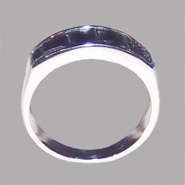 Unisex Silver and Black Round Ring - Size UK P (USA 8)