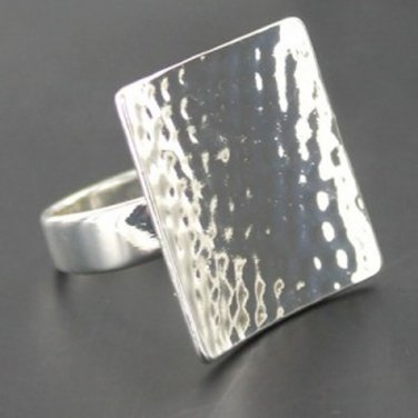 Ladies Silver Coloured Square Ring - Size UK P (USA 8)