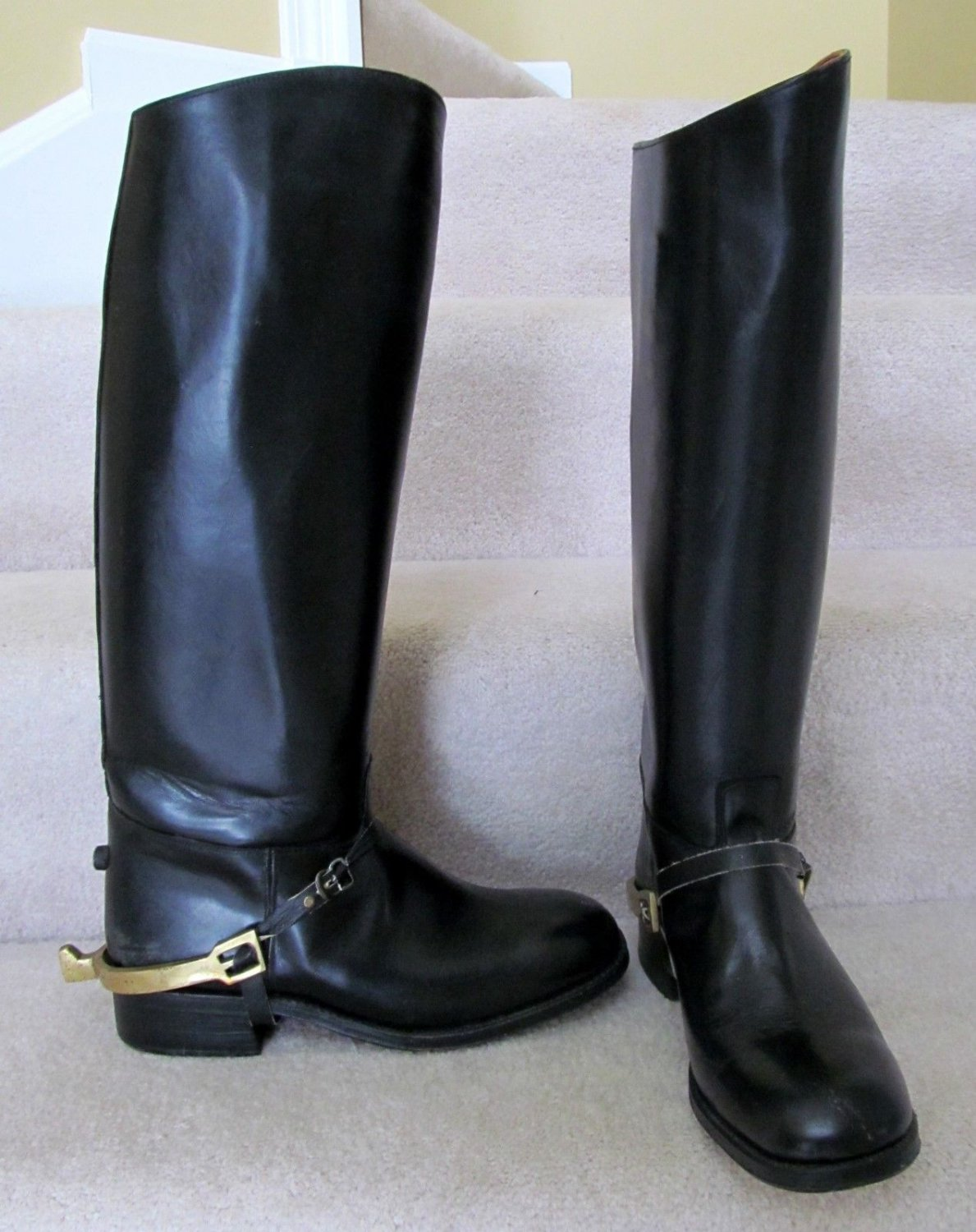 SOLD! - Vintage French Leather Boots Riding Boots 11 Equestrian WITH BRASS SPURS france