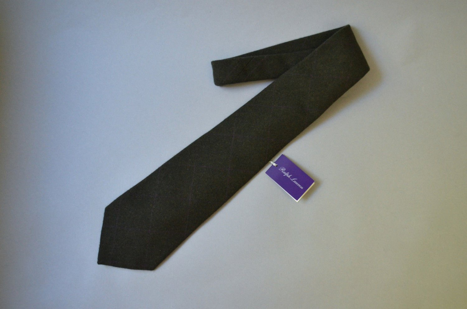 Ralph Lauren Purple Label 100% Cashmere Wide Green Plaid Tie