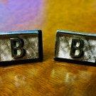 "Swank Cufflinks - Initial ""B"" on Black Background-Silver Tone"