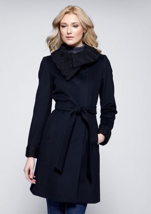 Cinzia Rocca Due Belted Wool Cashmere Blend Coat with Knit Collar