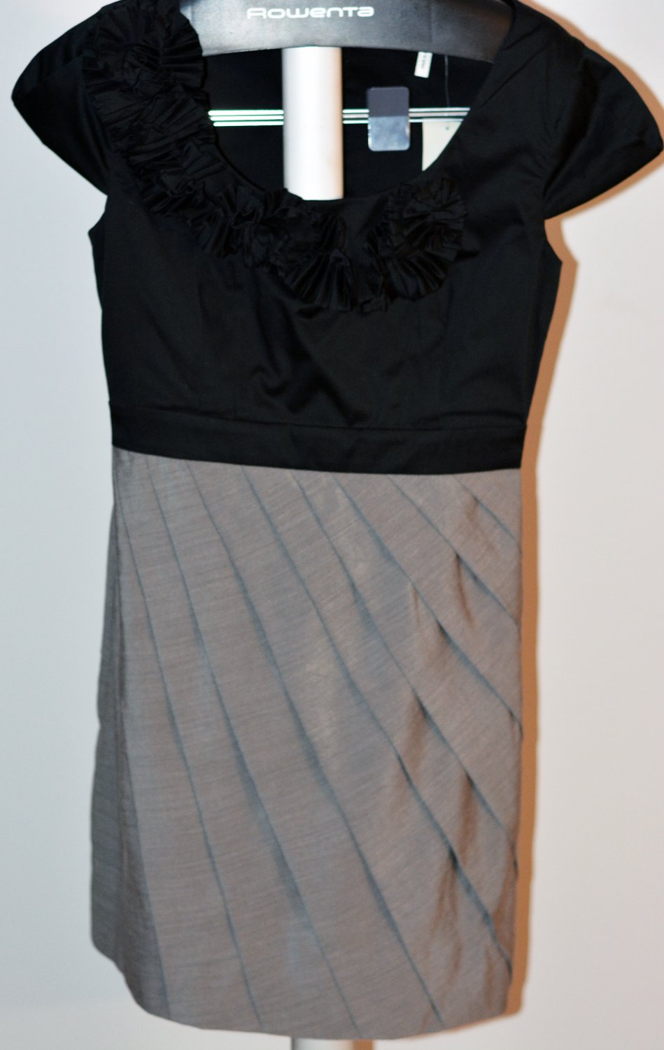Max and Cleo Rosette Neckline Pleated Dress