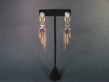 Natural Opal and Amethyst Earrings